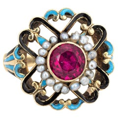 Antique Edwardian Enamel Ring Vintage 14k Yellow Gold Seed Pearls