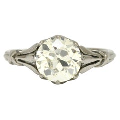 Antique Edwardian Engagement Ring Solitaire 2 Carat Old European Diamond