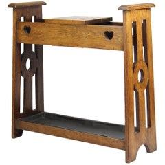 Antique Edwardian English Arts & Crafts Oak Umbrella Stand Stick Stand Hall Unit
