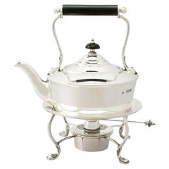 Antique Edwardian English Sterling Silver Bachelor Spirit Kettle