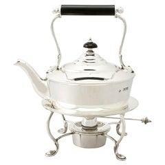 Antique Edwardian English Sterling Silver Bachelor Spirit Kettle