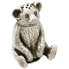Antique Edwardian English Sterling Silver 'Bear' Pepperette