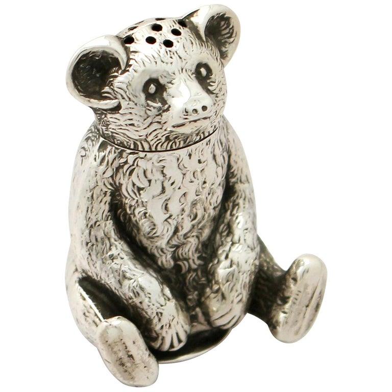 Antique Edwardian English Sterling Silver 'Bear' Pepperette For Sale