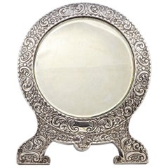 Antique Edwardian English Sterling Silver Bevelled Edge Table Mirror 1903