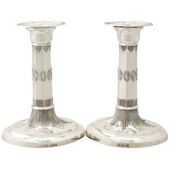 Antique Edwardian English Sterling Silver Candlesticks