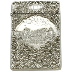 Antique Edwardian English Sterling Silver Castle Top Card Case
