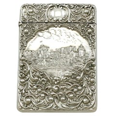 Antique Edwardian English Sterling Silver Castle Top Card Case