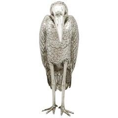 Antique Edwardian English Sterling Silver Heron Sugar Box