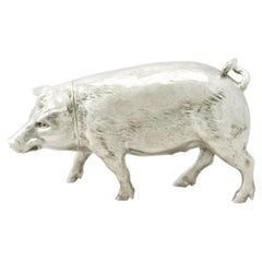 Antique Edwardian English Sterling Silver Pig Sugar Box