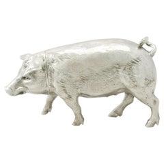 Antique Edwardian English Sterling Silver Pig Sugar Box