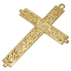 Antique Edwardian Engraved 14 Karat Gold Crucifix or Cross Pendant