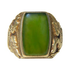 Antique Edwardian Era 6 Carat Jade Griffin 14 Karat Gold Signet Pinky Ring