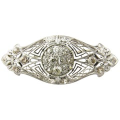 Antique Edwardian Era Platinum and 14 Karat White Gold Diamond Brooch Pin
