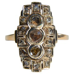 Antique Edwardian Era Rose Cut Diamond 14 Karat Gold Shield Ring