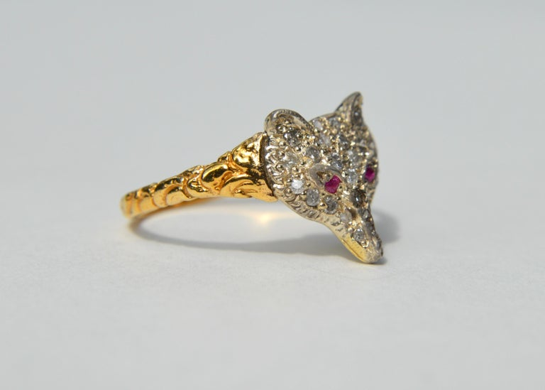 Rose Cut Antique Edwardian Era Diamond Ruby Fox 18 Karat Gold Ring For Sale