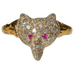 Antique Edwardian Era Diamond Ruby Fox 18 Karat Gold Ring