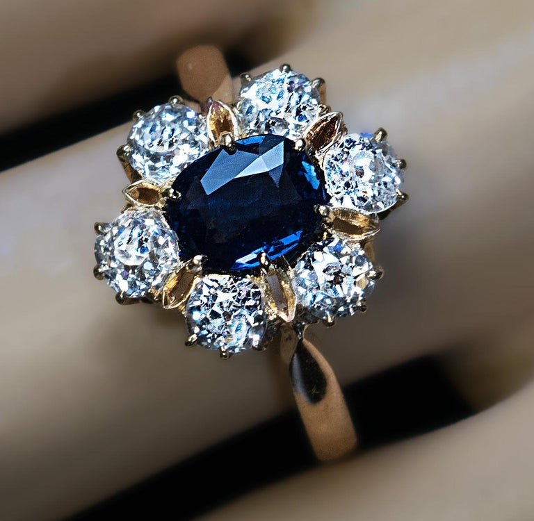 Antique Engagement Rings For Sale: Antique Edwardian Era Sapphire Diamond Gold Engagement