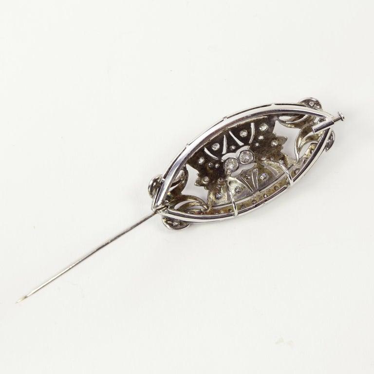 Old European Cut Antique Edwardian Diamond Platinum Pendant Brooch Pin Estate Fine Jewelry For Sale