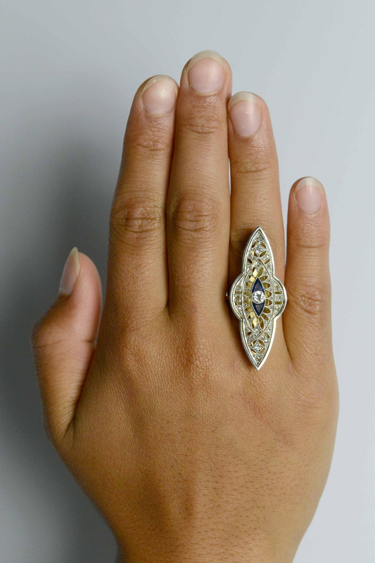 An original antique hailing from the Titanic era, this fabulous filigree Edwardian cocktail ring pulls into port at a whopping 2