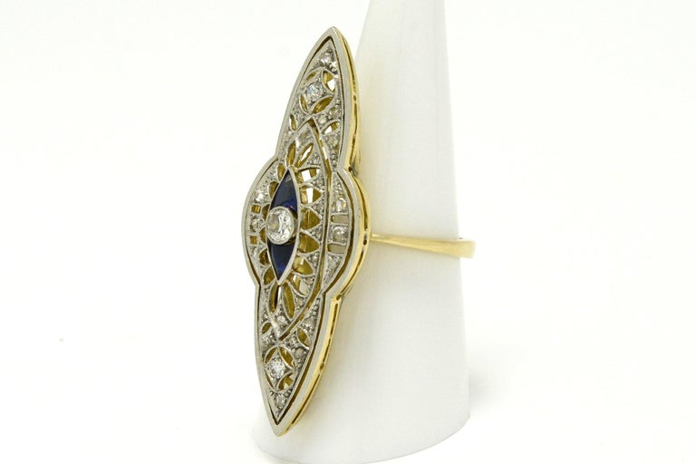 Women's Antique Edwardian Filigree Cocktail Ring Diamond Sapphire Long Statement Lacy For Sale