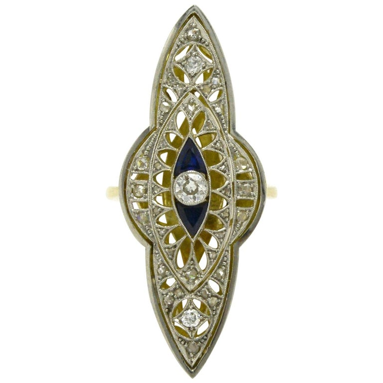 Antique Edwardian Filigree Cocktail Ring Diamond Sapphire Long Statement Lacy For Sale