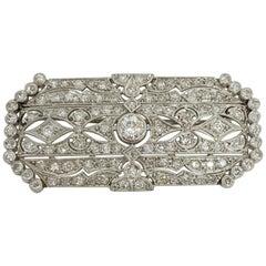 Antique Edwardian Filigree Platinum Diamond Brooch 3.70 Carat