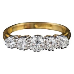 Antique Edwardian Five-Stone Diamond Ring 18 Carat Gold Platinum, circa 1905