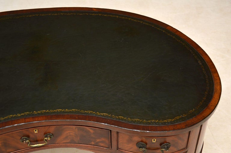 Antique Edwardian Flame Mahogany Leather Top Desk For Sale 4