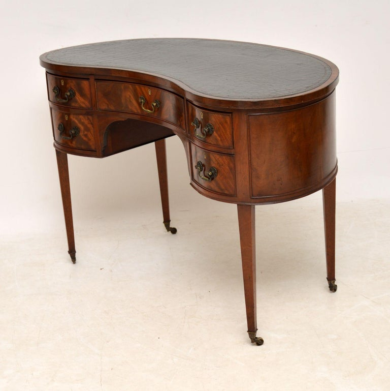 Antique Edwardian Flame Mahogany Leather Top Desk For Sale 5