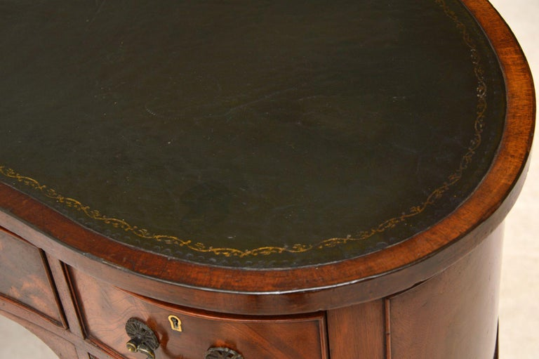 Antique Edwardian Flame Mahogany Leather Top Desk For Sale 2