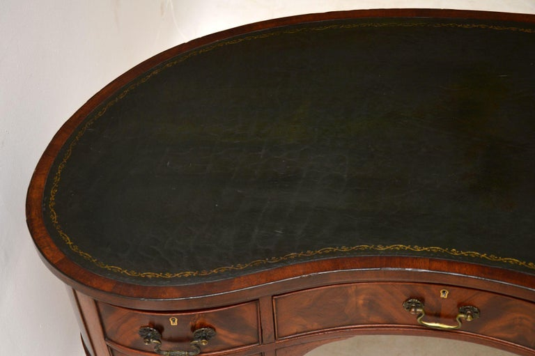Antique Edwardian Flame Mahogany Leather Top Desk For Sale 3