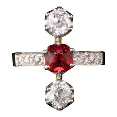 Antique Edwardian French 18 Karat Gold Diamond and Ruby Three-Stone Ring