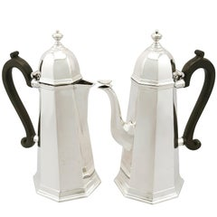 Antique Edwardian George I Style Sterling Silver Café au Lait Set