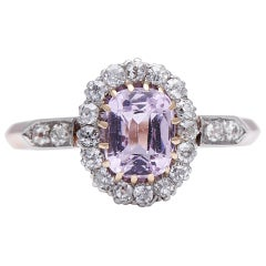 Antique Edwardian, German, 14 Carat Rose Gold, Pink Sapphire and Diamond Ring