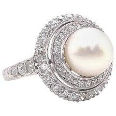 Antique Edwardian GIA Pearl Diamond Platinum Cluster Ring