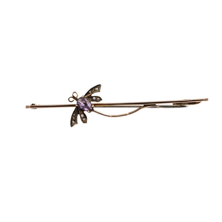 Women's Antique Edwardian Gold Amethyst and Seed Pearl Dragonfly Brooch Pin, circa 1910 For Sale