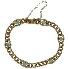 Antique Edwardian Gold Curb Link Bracelet with Cabochon Opals