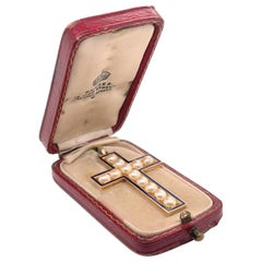 Antique Edwardian Gold, Pearl and Enamel Cross or Crucifix Pendant