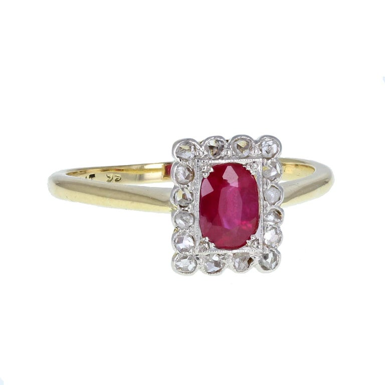 Cushion Cut Antique Edwardian Ruby Diamond  Gold Platinum Cluster Ring For Sale