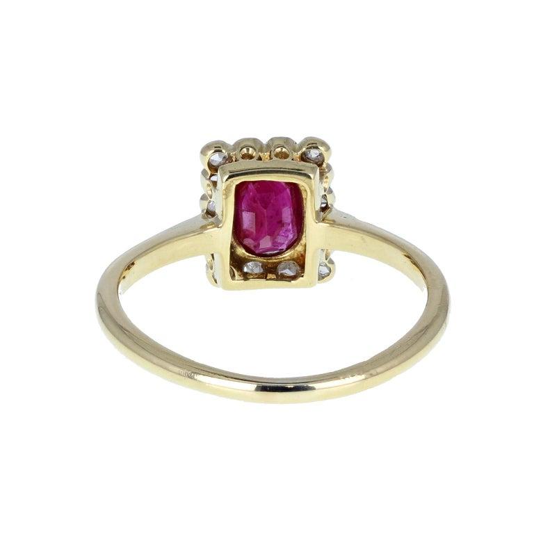 Women's or Men's Antique Edwardian Ruby Diamond  Gold Platinum Cluster Ring For Sale