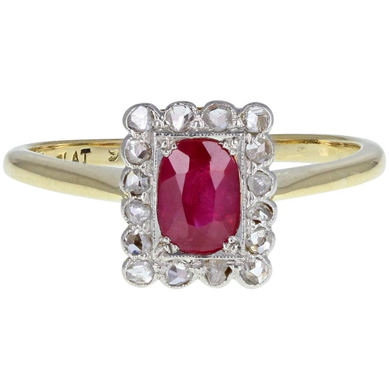 Antique Edwardian Oval-Cut Ruby & Diamond Gold Platinum Cluster Engagement Ring For Sale