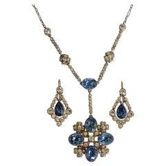 Antique Edwardian Gold Silver Paste Earrings Necklace Set