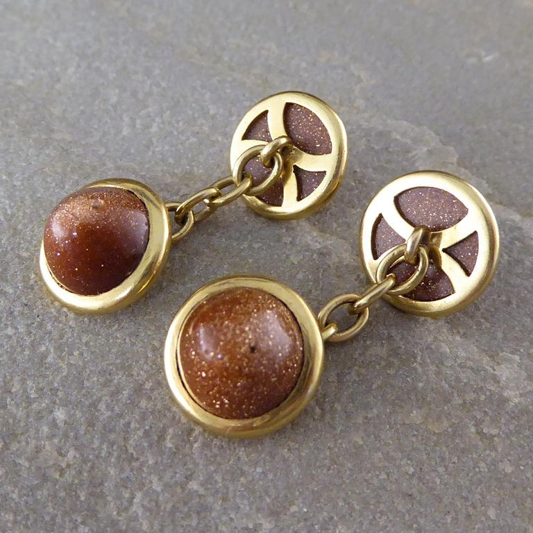 These enchanting goldstone cufflinks were made in the Edwardian era and they are set in 18ct yellow gold. Goldstone is said to help oneself stay calm and collected, and is also said to help one achieve life goals!  Condition: Very Good, slightest