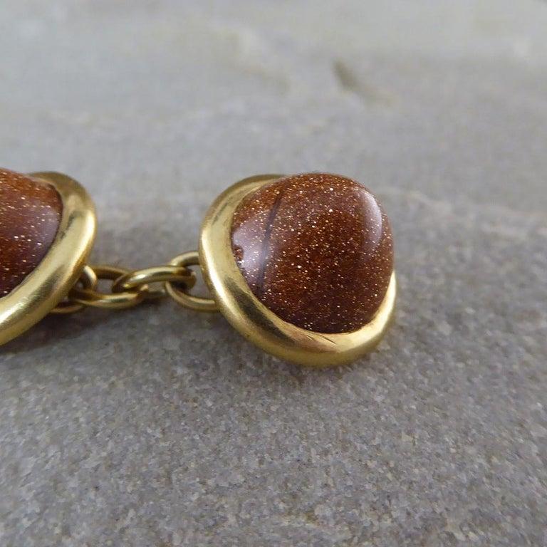 Women's Antique Edwardian Goldstone Cufflinks in 18 Carat Gold For Sale