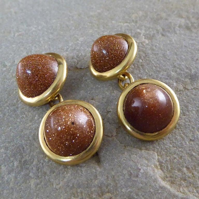 Antique Edwardian Goldstone Cufflinks in 18 Carat Gold For Sale 1