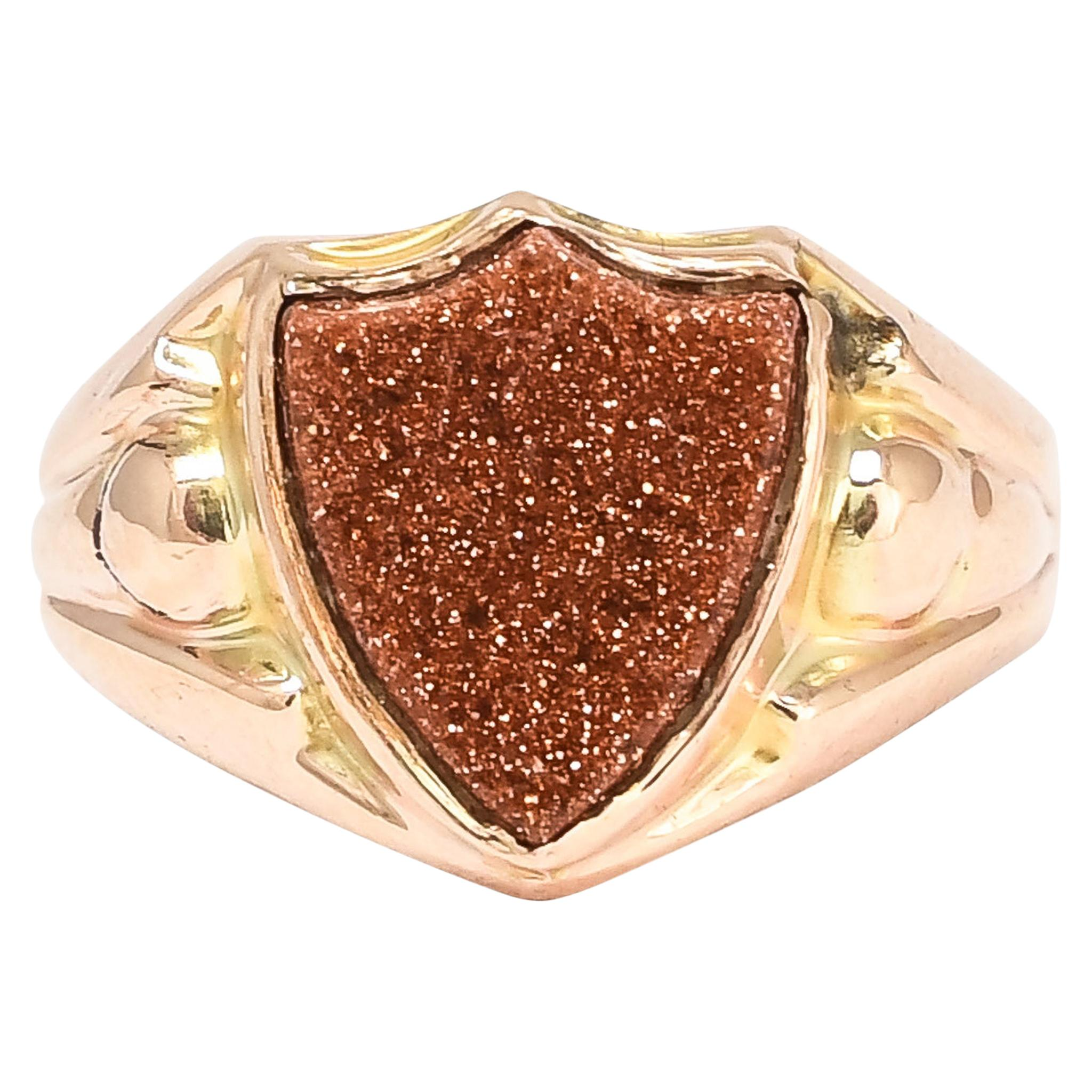 Antique Edwardian Goldstone Shield Signet Ring