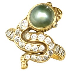 Antique Edwardian Grey Pearl Diamond 18 Karat Yellow Gold Snake Ring