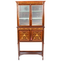Antique Edwardian Inlaid Display Cabinet by Edwards & Roberts, 19th Century