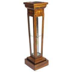 Antique Edwardian Inlaid Gonçalo Alves Display Pedestal Stand, 19th Century