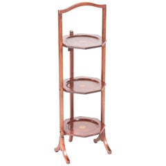 Antique Edwardian Inlaid Mahogany 3-Tier Cake Stand